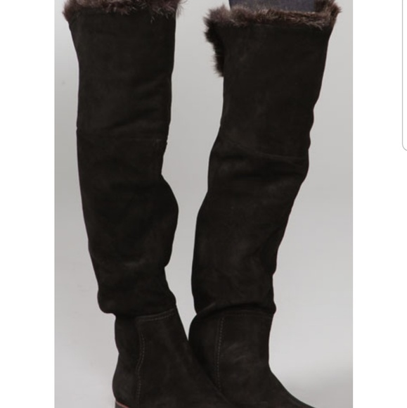 Sam Edelman Shoes - Sam Edelman Orlando suede faux fur cuff boots!